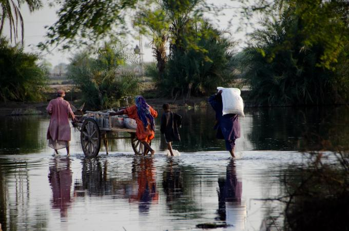 A family crossing stagnant flood water while carrying food items they received from the World Food Program in Sindh